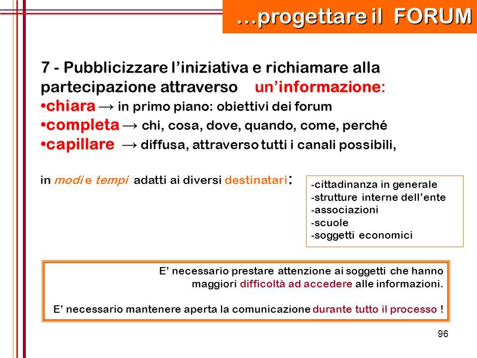 96 7 - Pubblicizzare l'iniziativa e richiamare alla partecipazione attraverso un'informazione: chiara → in primo piano: obiettivi dei forum completa →