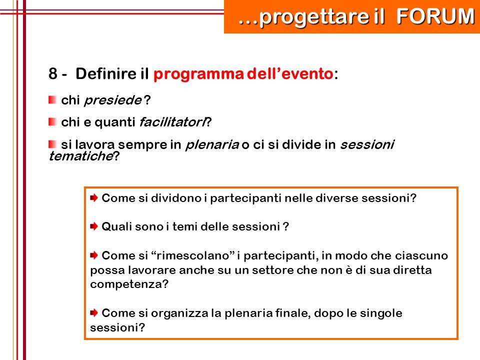 97 8 - Definire il programma dell'evento: chi presiede ? chi e quanti facilitatori? si lavora sempre in plenaria o ci si divide in sessioni tematiche?