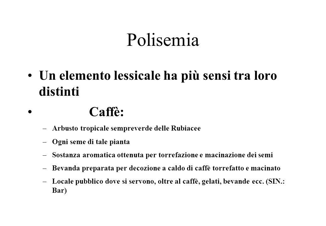 Polisemia Un elemento lessicale ha più sensi tra loro distinti Caffè: –Arbusto tropicale sempreverde delle Rubiacee –Ogni seme di tale pianta –Sostanza aromatica ottenuta per torrefazione e macinazione dei semi –Bevanda preparata per decozione a caldo di caffè torrefatto e macinato –Locale pubblico dove si servono, oltre al caffè, gelati, bevande ecc.