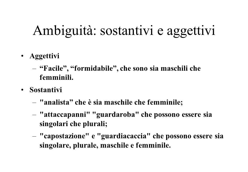 Ambiguità: sostantivi e aggettivi Aggettivi – Facile , formidabile , che sono sia maschili che femminili.