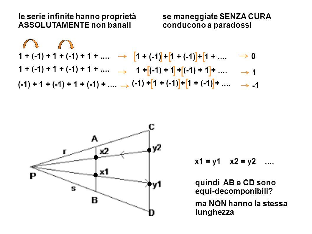 le serie infinite hanno proprietà ASSOLUTAMENTE non banali se maneggiate SENZA CURA conducono a paradossi 1 + (-1) + 1 + (-1) + 1 +.... (-1) + 1 + (-1