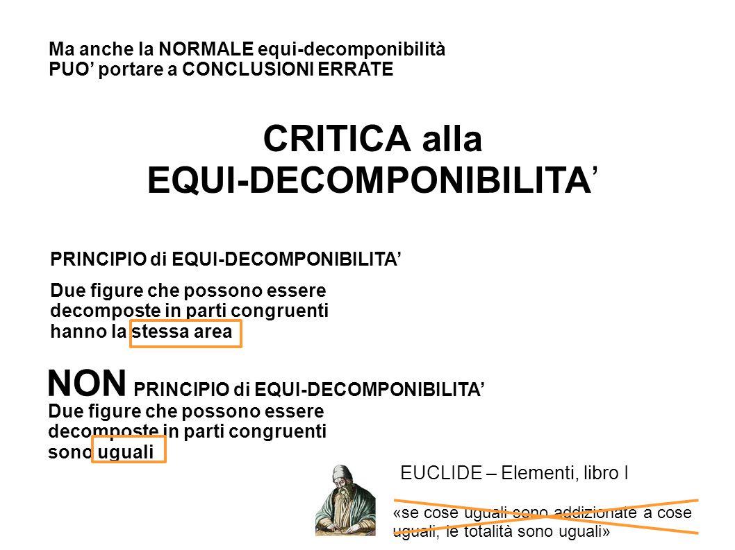 L nella prima casella Ma anche la NORMALE equi-decomponibilità PUO' portare a CONCLUSIONI ERRATE CRITICA alla EQUI-DECOMPONIBILITA' PRINCIPIO di EQUI-