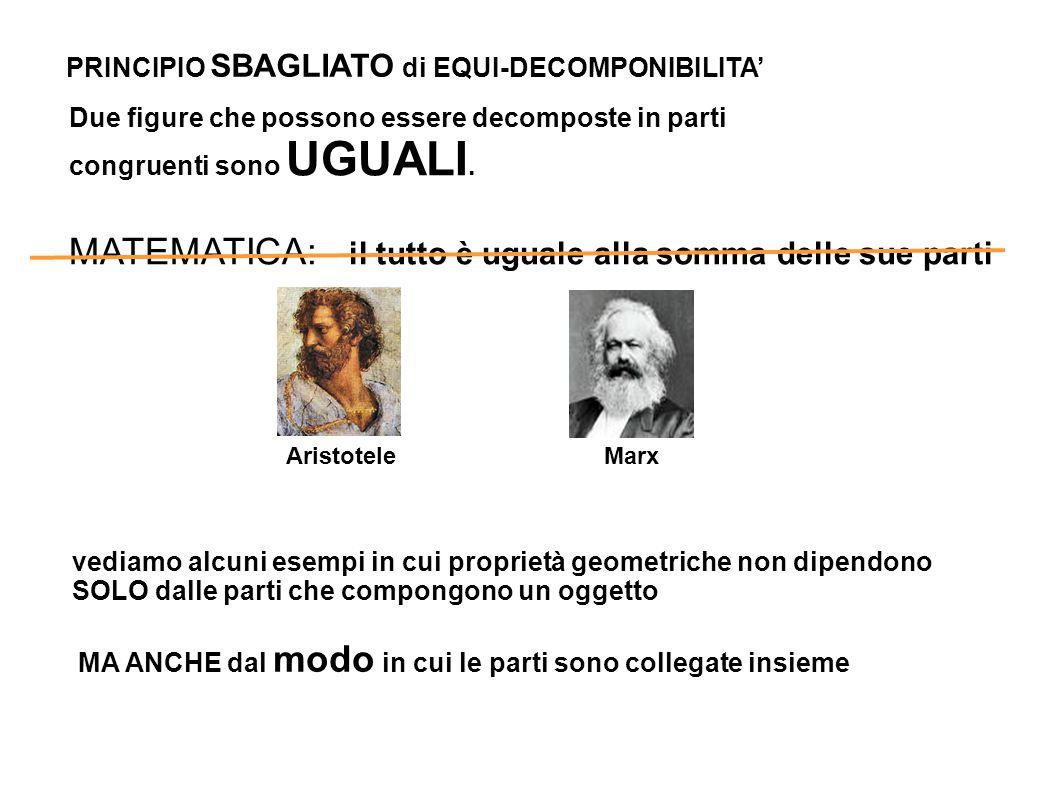 L nella prima casella PRINCIPIO SBAGLIATO di EQUI-DECOMPONIBILITA' Due figure che possono essere decomposte in parti congruenti sono UGUALI. MATEMATIC
