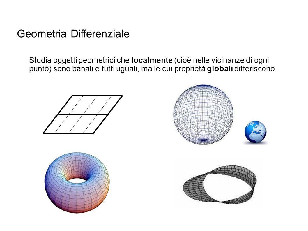 Geometria Differenziale Studia oggetti geometrici che localmente (cioè nelle vicinanze di ogni punto) sono banali e tutti uguali, ma le cui proprietà