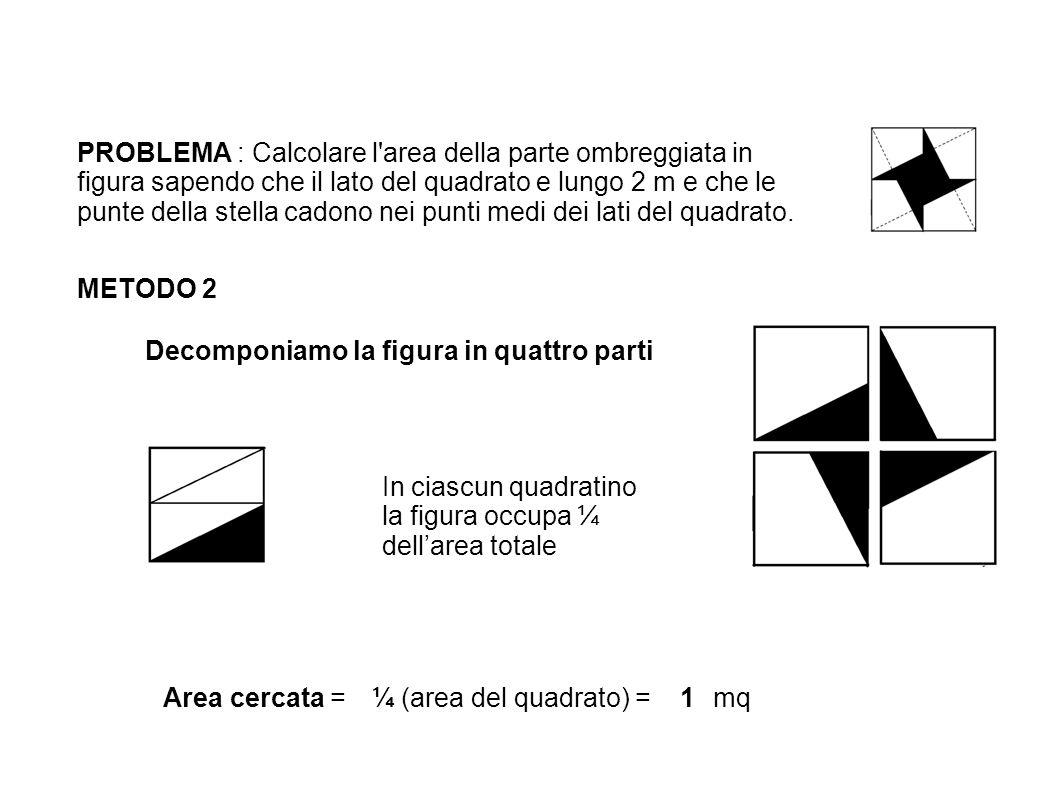 PROBLEMA : Calcolare l area della parte ombreggiata in figura sapendo che il lato del quadrato e lungo 2 m e che le punte della stella cadono nei punti medi dei lati del quadrato.