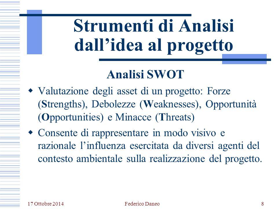 17 Ottobre 2014 Federico Daneo8 Strumenti di Analisi dall'idea al progetto Analisi SWOT  Valutazione degli asset di un progetto: Forze (Strengths), D