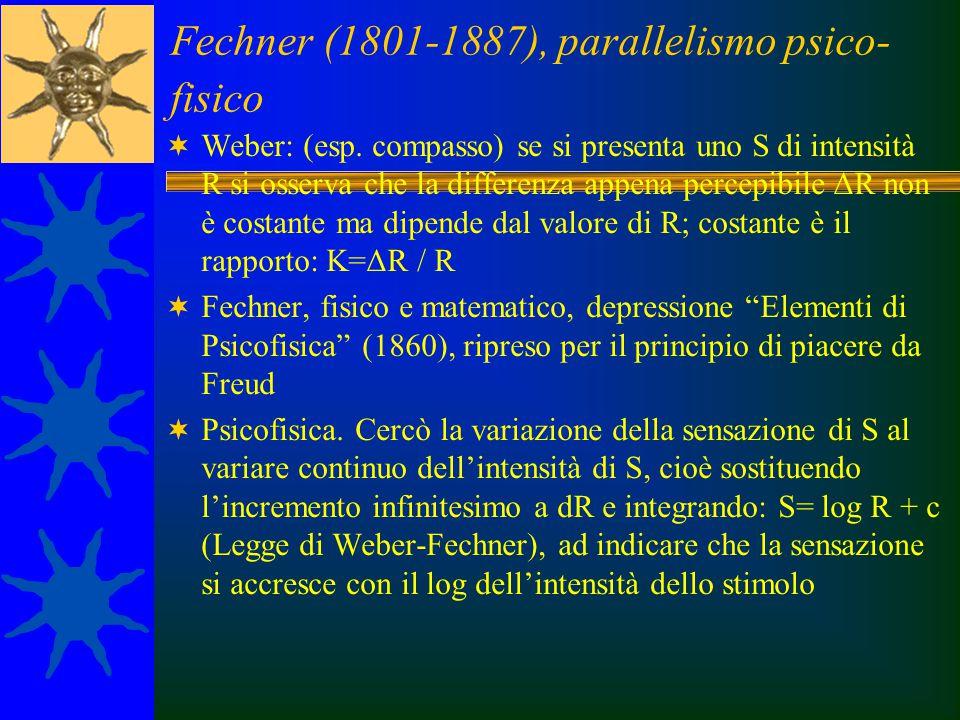 Fechner (1801-1887), parallelismo psico- fisico  Weber: (esp. compasso) se si presenta uno S di intensità R si osserva che la differenza appena perce