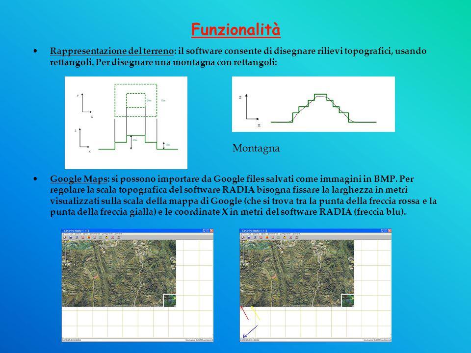 Funzionalità Rappresentazione del terreno: il software consente di disegnare rilievi topografici, usando rettangoli.