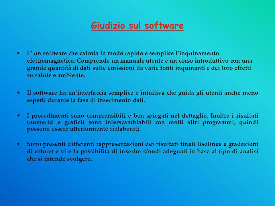 Giudizio sul software E' un software che calcola in modo rapido e semplice l'inquinamento elettromagnetico.