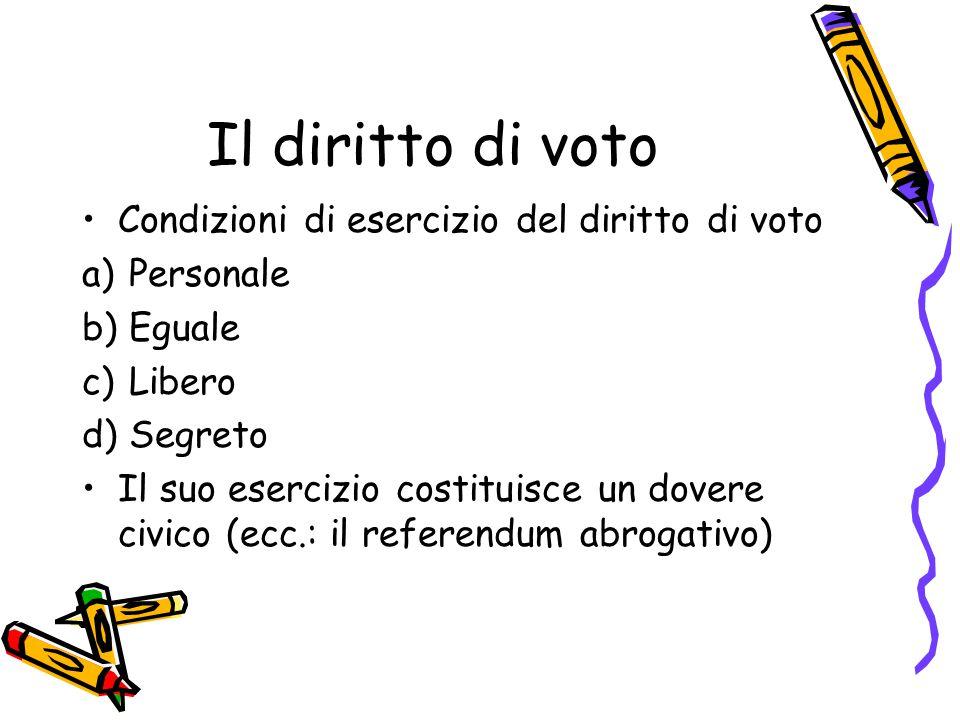 Il diritto di voto Condizioni di esercizio del diritto di voto a) Personale b) Eguale c) Libero d) Segreto Il suo esercizio costituisce un dovere civi