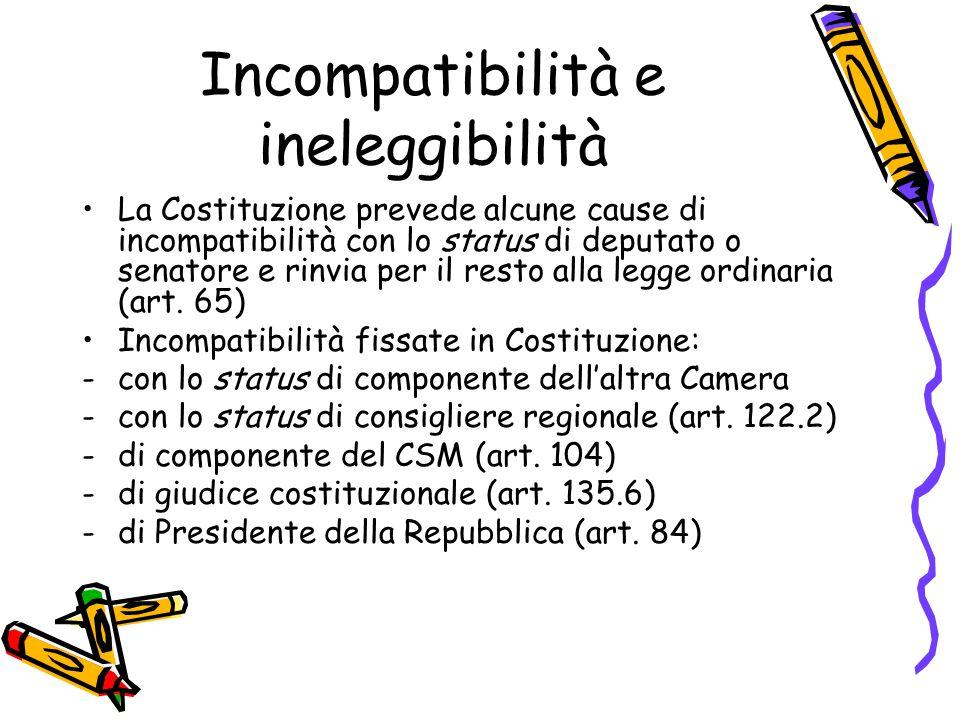 Incompatibilità e ineleggibilità La Costituzione prevede alcune cause di incompatibilità con lo status di deputato o senatore e rinvia per il resto al