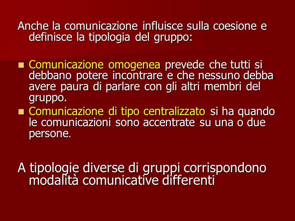 Anche la comunicazione influisce sulla coesione e definisce la tipologia del gruppo: Comunicazione omogenea prevede che tutti si debbano potere incontrare e che nessuno debba avere paura di parlare con gli altri membri del gruppo.