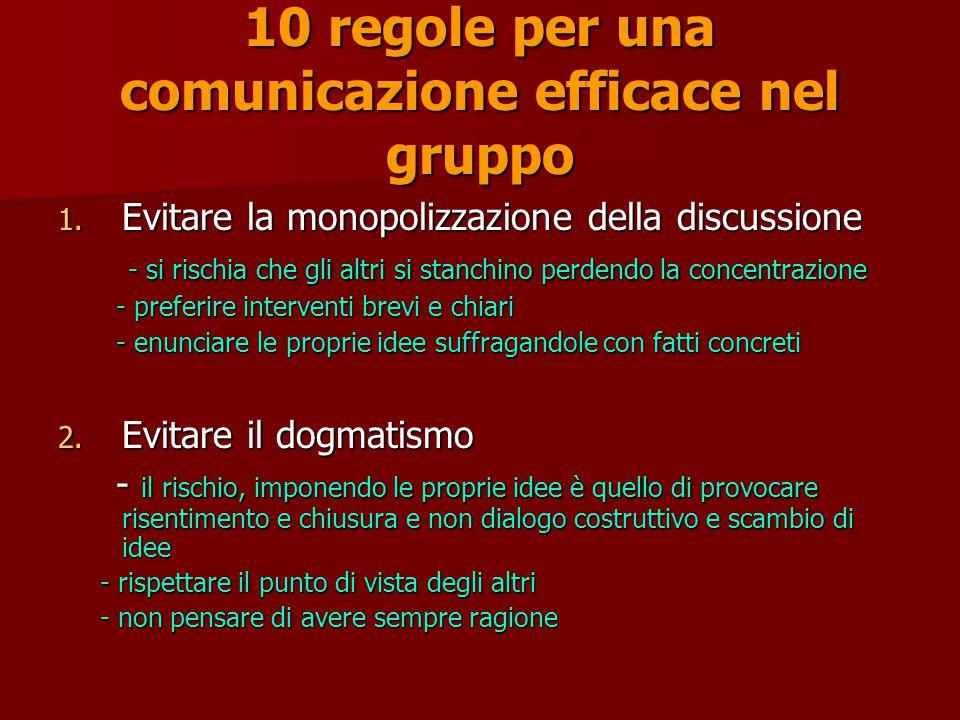 10 regole per una comunicazione efficace nel gruppo 1.