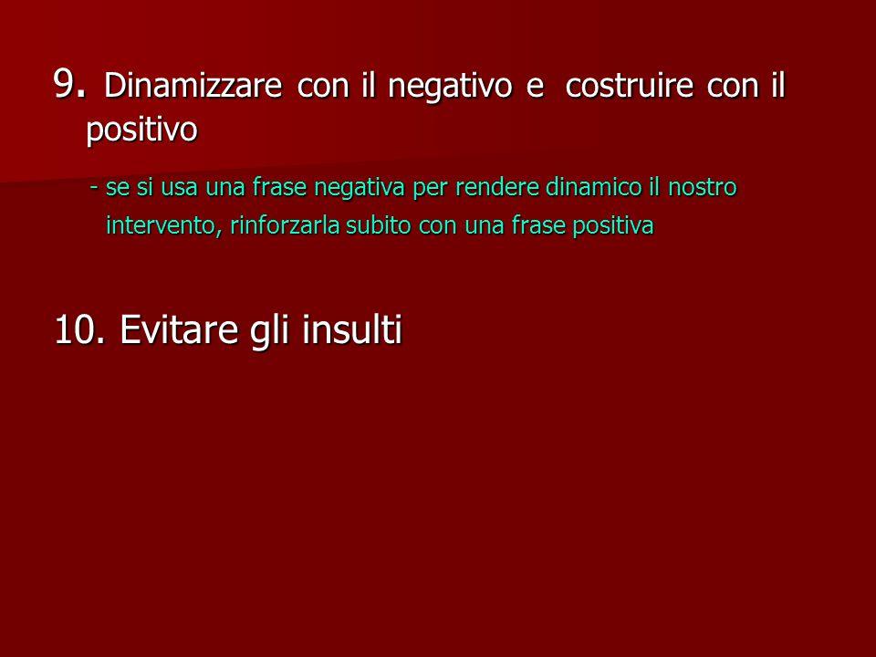 9. Dinamizzare con il negativo e costruire con il positivo - se si usa una frase negativa per rendere dinamico il nostro - se si usa una frase negativ