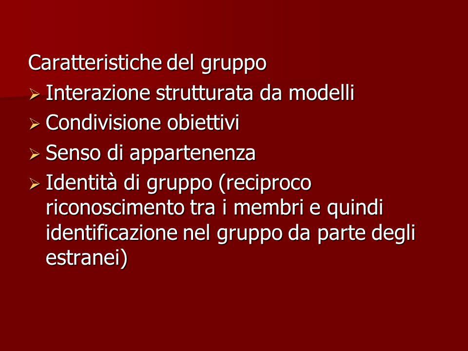 Caratteristiche del gruppo  Interazione strutturata da modelli  Condivisione obiettivi  Senso di appartenenza  Identità di gruppo (reciproco riconoscimento tra i membri e quindi identificazione nel gruppo da parte degli estranei)