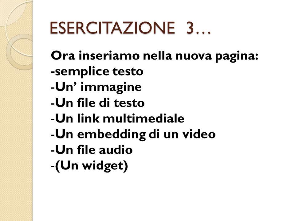 ESERCITAZIONE 3… Ora inseriamo nella nuova pagina: -semplice testo -Un' immagine -Un file di testo -Un link multimediale -Un embedding di un video -Un