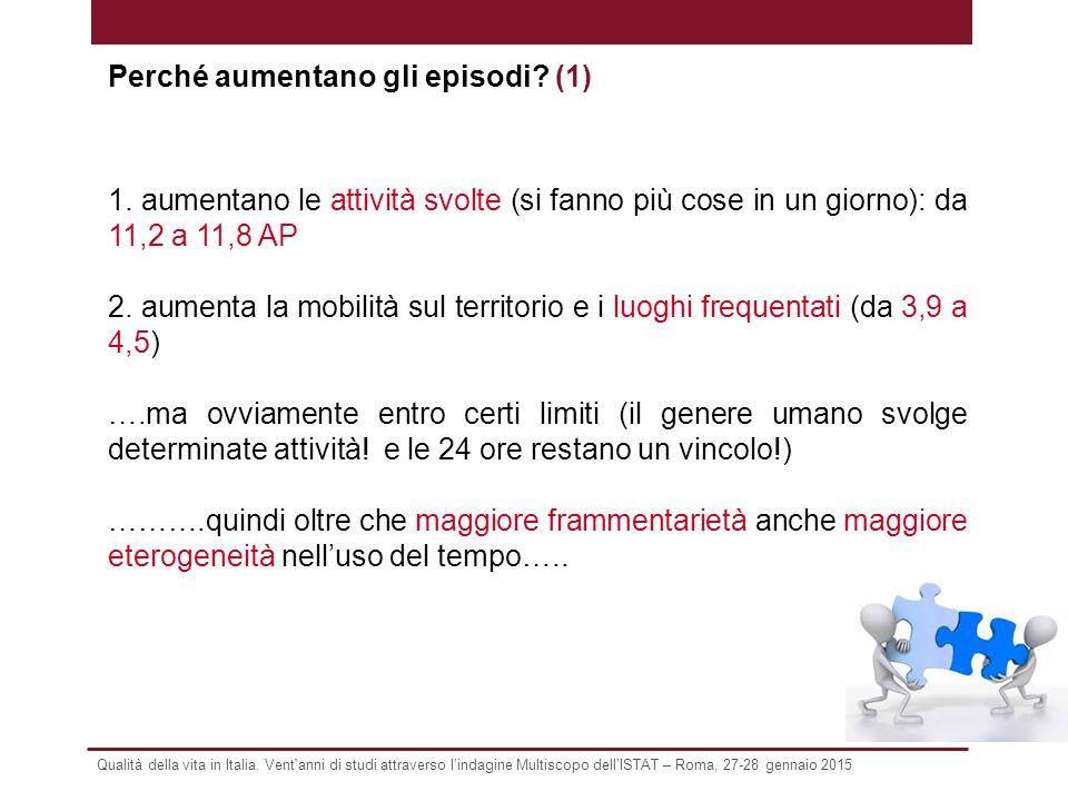 Qualità della vita in Italia. Vent'anni di studi attraverso l'indagine Multiscopo dell'ISTAT – Roma, 27-28 gennaio 2015 1. aumentano le attività svolt