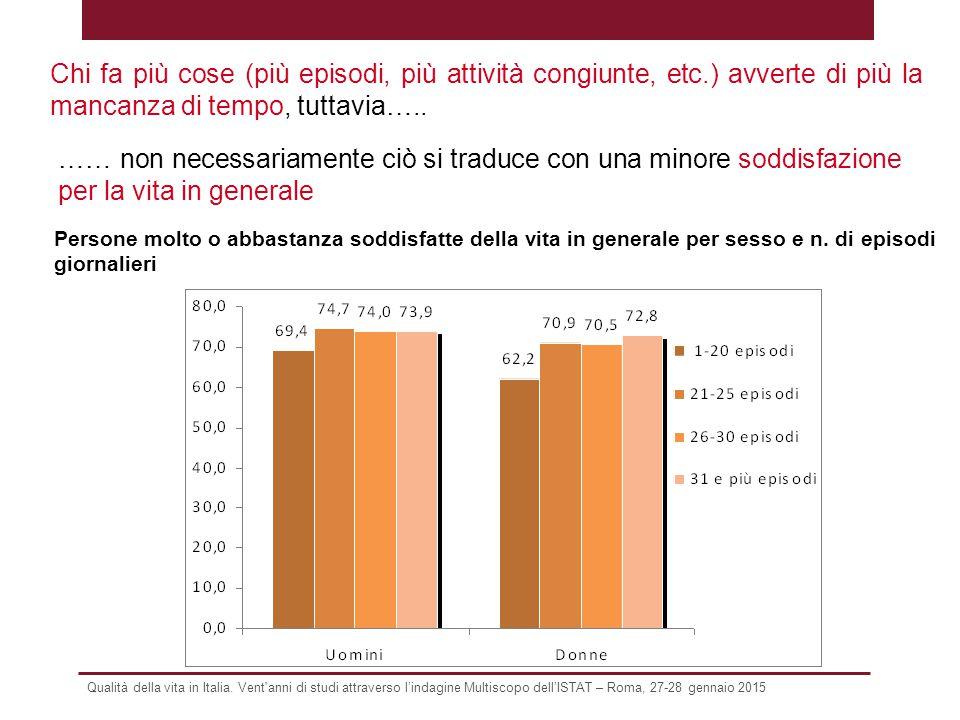 Qualità della vita in Italia. Vent'anni di studi attraverso l'indagine Multiscopo dell'ISTAT – Roma, 27-28 gennaio 2015 Chi fa più cose (più episodi,