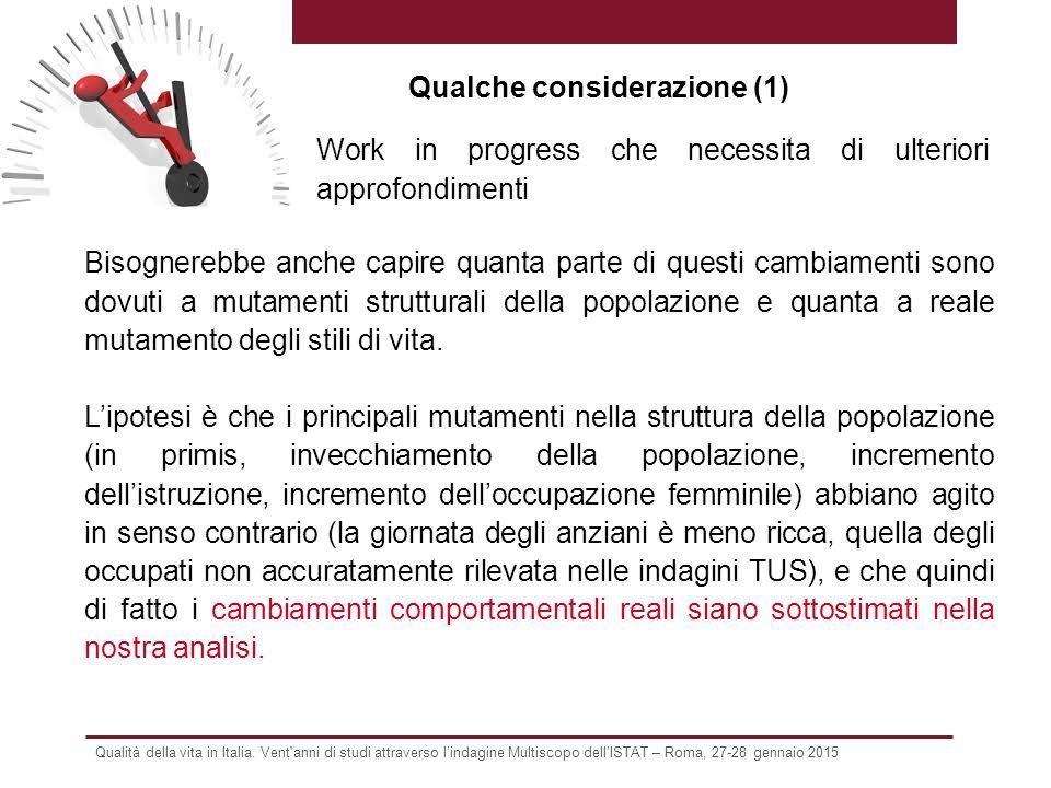 Qualità della vita in Italia. Vent'anni di studi attraverso l'indagine Multiscopo dell'ISTAT – Roma, 27-28 gennaio 2015 Bisognerebbe anche capire quan
