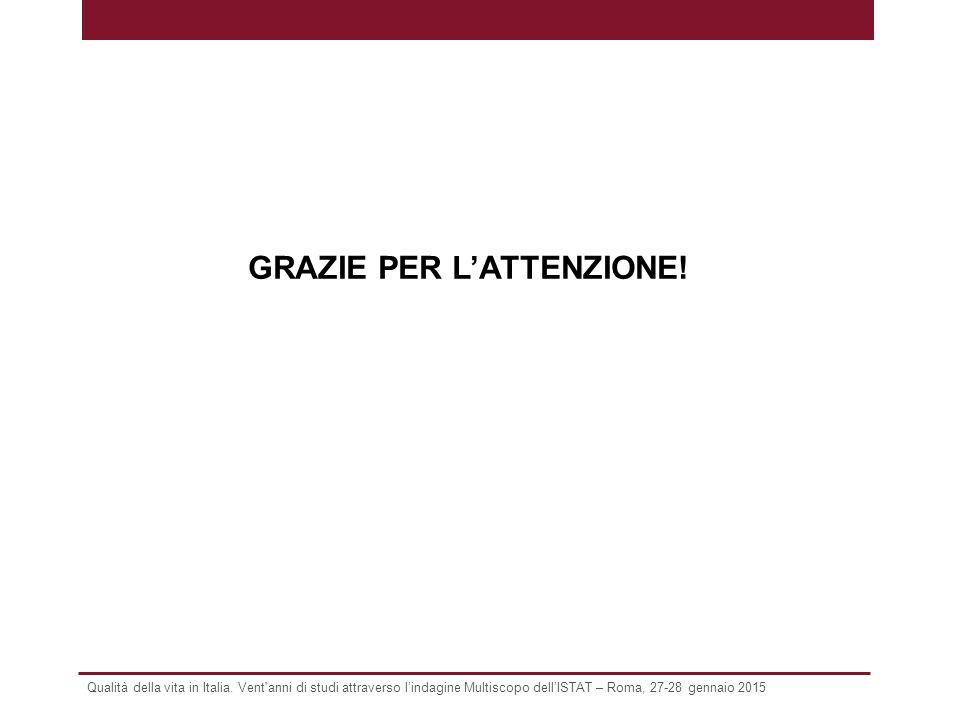 Qualità della vita in Italia. Vent'anni di studi attraverso l'indagine Multiscopo dell'ISTAT – Roma, 27-28 gennaio 2015 GRAZIE PER L'ATTENZIONE!