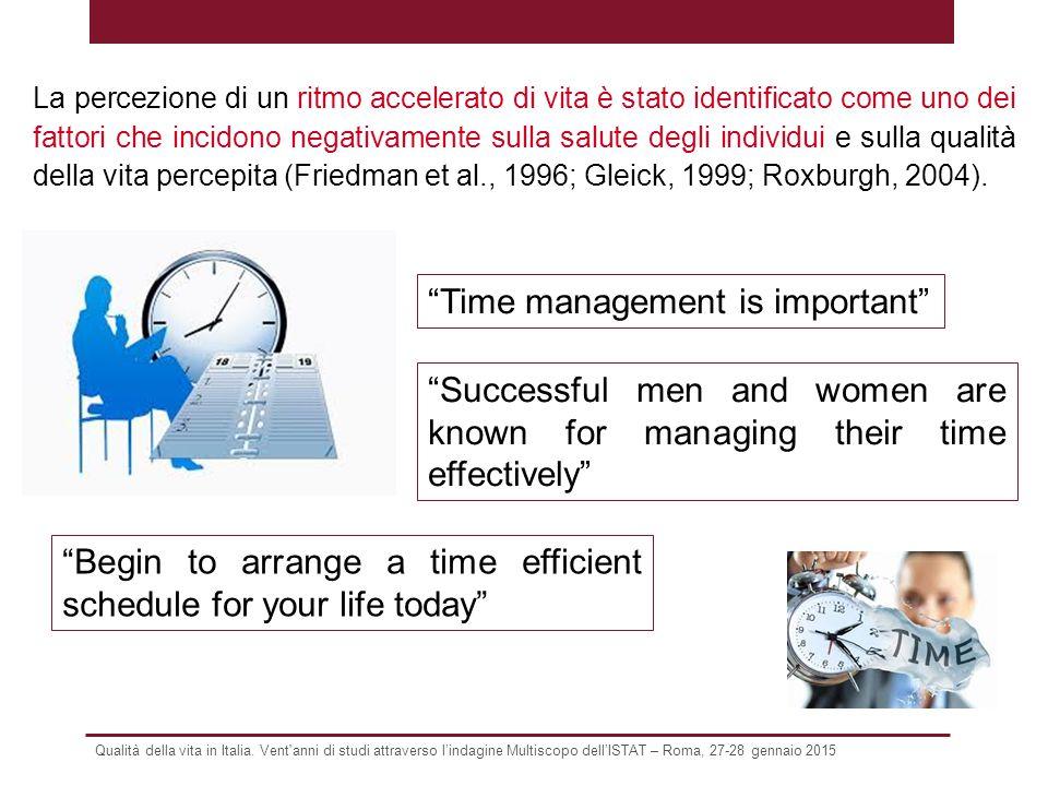 """Qualità della vita in Italia. Vent'anni di studi attraverso l'indagine Multiscopo dell'ISTAT – Roma, 27-28 gennaio 2015 """"Time management is important"""""""
