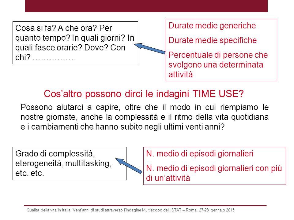Qualità della vita in Italia. Vent'anni di studi attraverso l'indagine Multiscopo dell'ISTAT – Roma, 27-28 gennaio 2015 Cos'altro possono dirci le ind