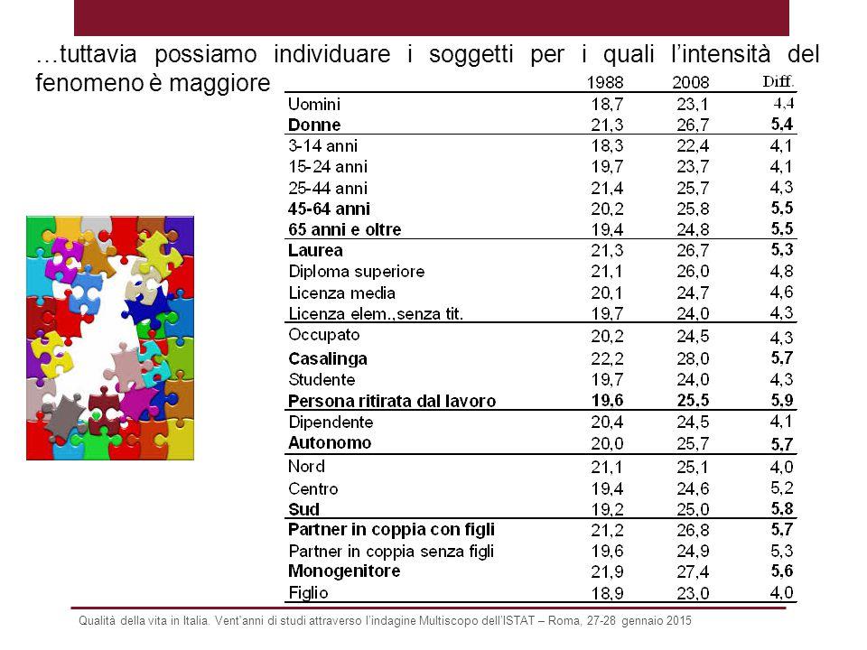 Qualità della vita in Italia. Vent'anni di studi attraverso l'indagine Multiscopo dell'ISTAT – Roma, 27-28 gennaio 2015 …tuttavia possiamo individuare