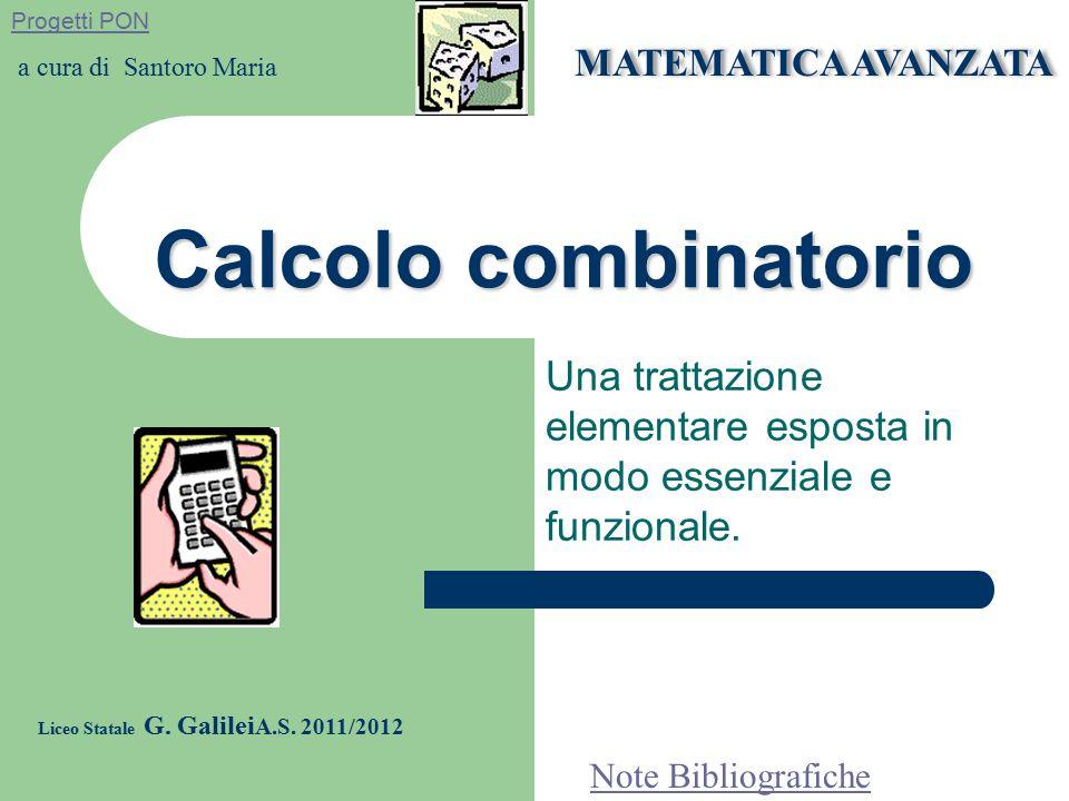 Esempio Calcolare: in quanti modi si possono presentare le facce di due dadi e quante sono le coppie formate da due numeri dispari, A={1,2,3,4,5,6} D(6,2)=6 2 =36 B= {1,3,5} D(3,2)= 3 2 =9 in quanti modi si possono presentare le facce di tre dadi e quante sono le terne formate da tre numeri dispari.