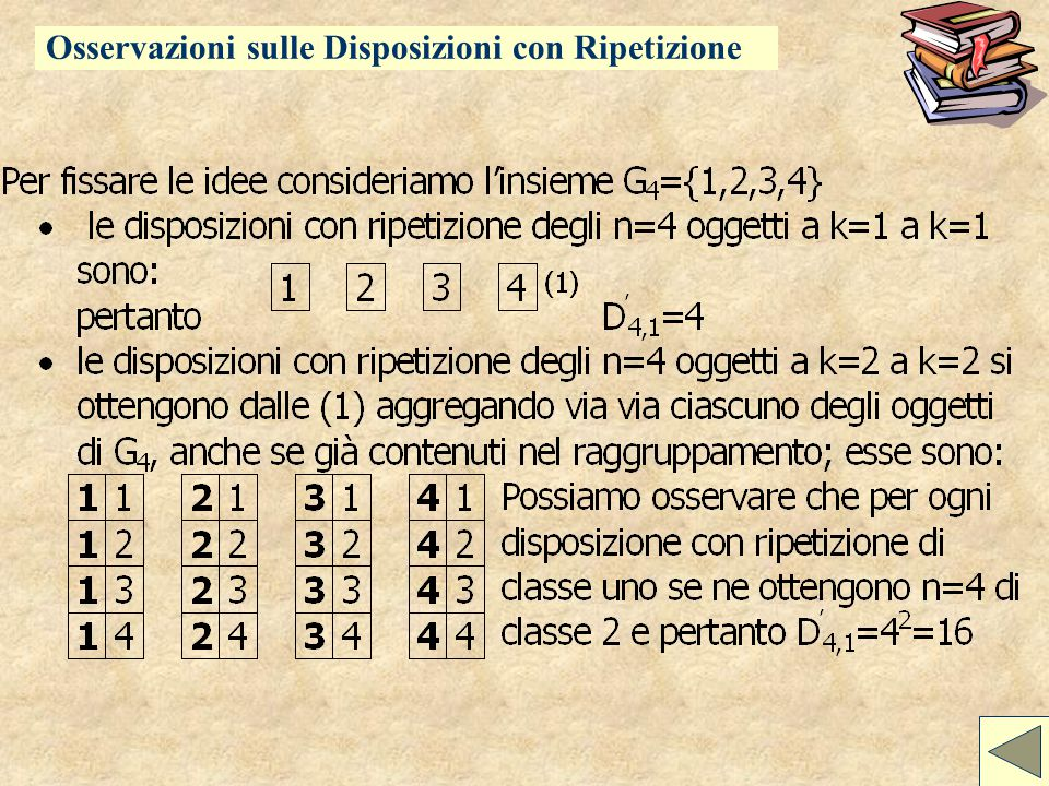 Calcolo combinatorio Disposizioni con Ripetizione Osservazioni