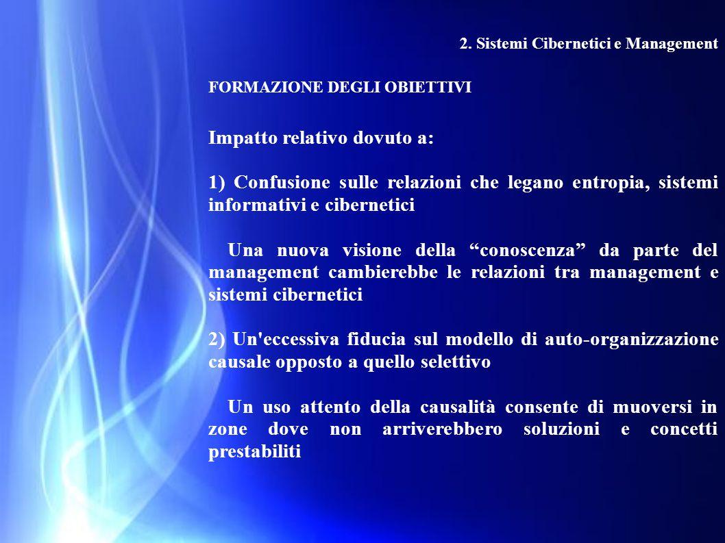 2. Sistemi Cibernetici e Management FORMAZIONE DEGLI OBIETTIVI Impatto relativo dovuto a: 1) Confusione sulle relazioni che legano entropia, sistemi i
