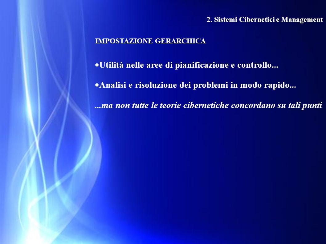 2. Sistemi Cibernetici e Management IMPOSTAZIONE GERARCHICA  Utilità nelle aree di pianificazione e controllo...  Analisi e risoluzione dei problemi