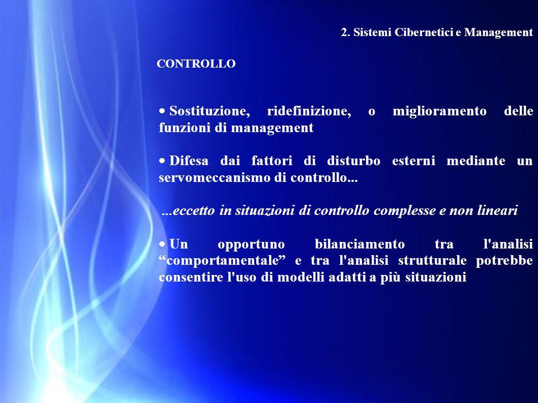 2. Sistemi Cibernetici e Management CONTROLLO  Sostituzione, ridefinizione, o miglioramento delle funzioni di management  Difesa dai fattori di dist