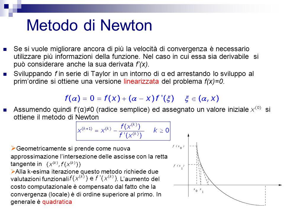 10 Metodo di Newton Se si vuole migliorare ancora di più la velocità di convergenza è necessario utilizzare più informazioni della funzione. Nel caso