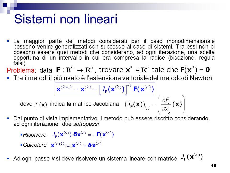16 Sistemi non lineari  La maggior parte dei metodi considerati per il caso monodimensionale possono venire generalizzati con successo al caso di sistemi.