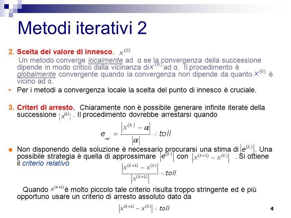 4 2.Scelta del valore di innesco. Un metodo converge localmente ad α se la convergenza della successione dipende in modo critico dalla vicinanza di ad