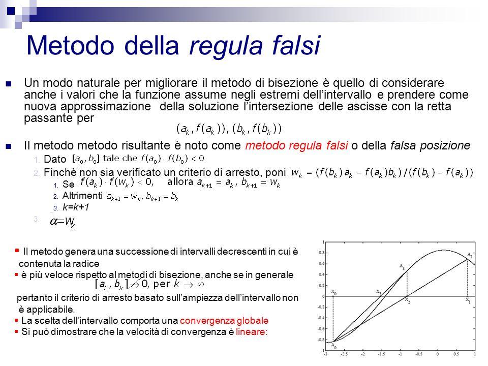 9 Metodo delle secanti Una variante della regula falsi è il metodo delle secanti in cui sono richieste due approssimazioni iniziali senza alcun' altra condizione e senza la necessità di controllare il segno di f(x) Assegnati due valori iniziali si costruisce la successione La convergenza del metodo è garantita se le approssimazioni iniziali sono abbastanza vicine alla radice α: convergenza locale.