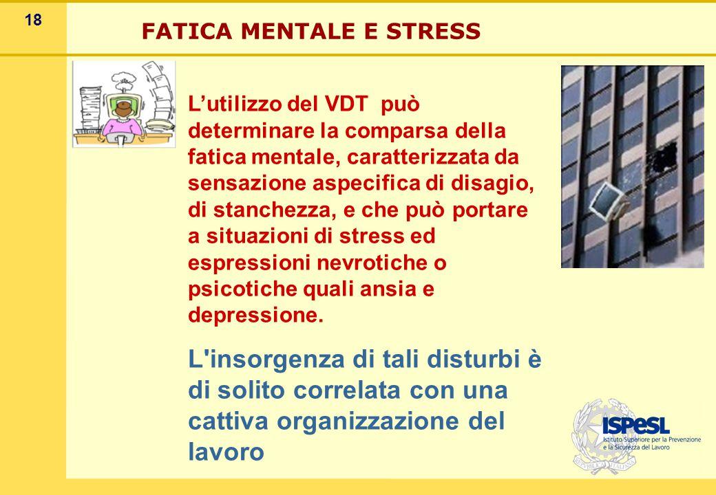18 L'utilizzo del VDT può determinare la comparsa della fatica mentale, caratterizzata da sensazione aspecifica di disagio, di stanchezza, e che può p