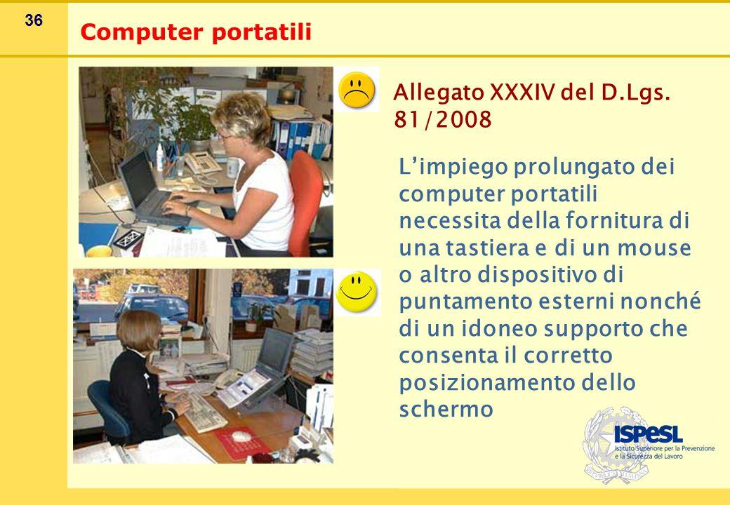 36 Computer portatili Allegato XXXIV del D.Lgs. 81/2008 L'impiego prolungato dei computer portatili necessita della fornitura di una tastiera e di un