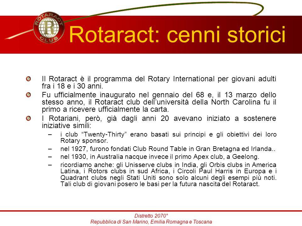 Distretto 2070° Repubblica di San Marino, Emilia Romagna e Toscana Rotaract: cenni storici Il Rotaract è il programma del Rotary International per giovani adulti fra i 18 e i 30 anni.