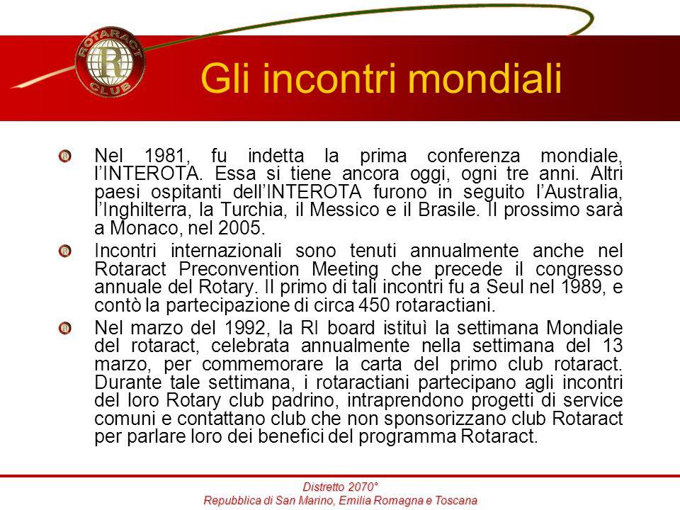 Distretto 2070° Repubblica di San Marino, Emilia Romagna e Toscana Gli incontri mondiali Nel 1981, fu indetta la prima conferenza mondiale, l'INTEROTA.