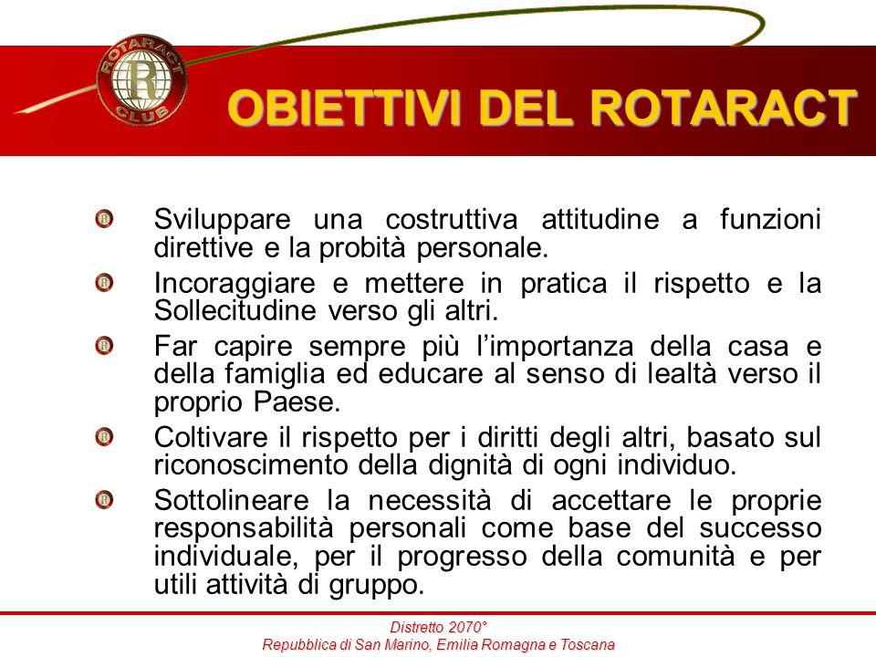 Distretto 2070° Repubblica di San Marino, Emilia Romagna e Toscana Sviluppare una costruttiva attitudine a funzioni direttive e la probità personale.
