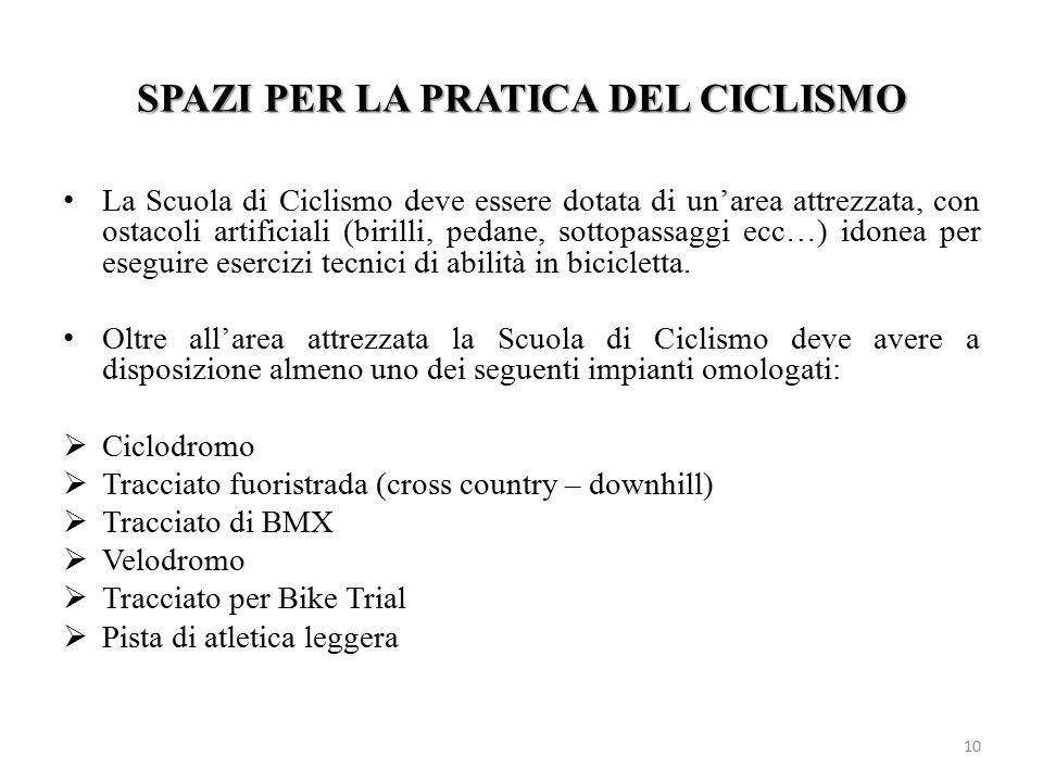 SPAZI PER LA PRATICA DEL CICLISMO La Scuola di Ciclismo deve essere dotata di un'area attrezzata, con ostacoli artificiali (birilli, pedane, sottopass