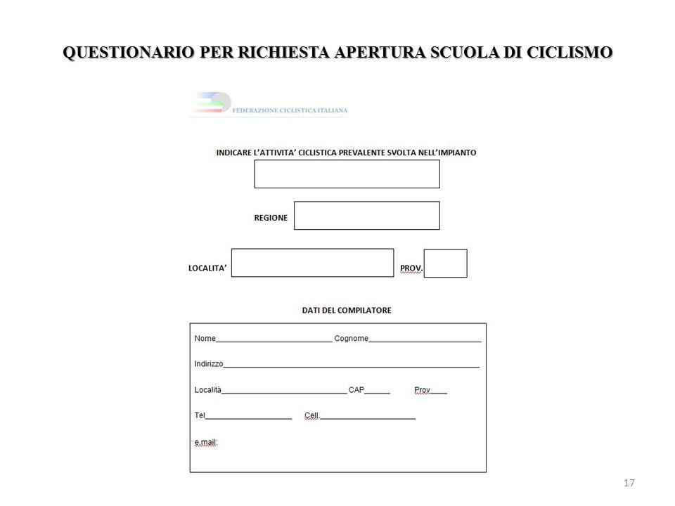 QUESTIONARIO PER RICHIESTA APERTURA SCUOLA DI CICLISMO 17