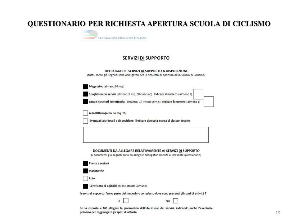 QUESTIONARIO PER RICHIESTA APERTURA SCUOLA DI CICLISMO 19