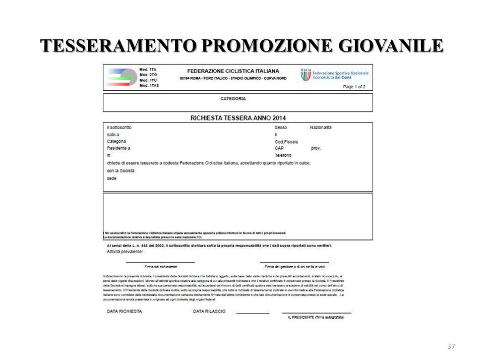 TESSERAMENTO PROMOZIONE GIOVANILE 37