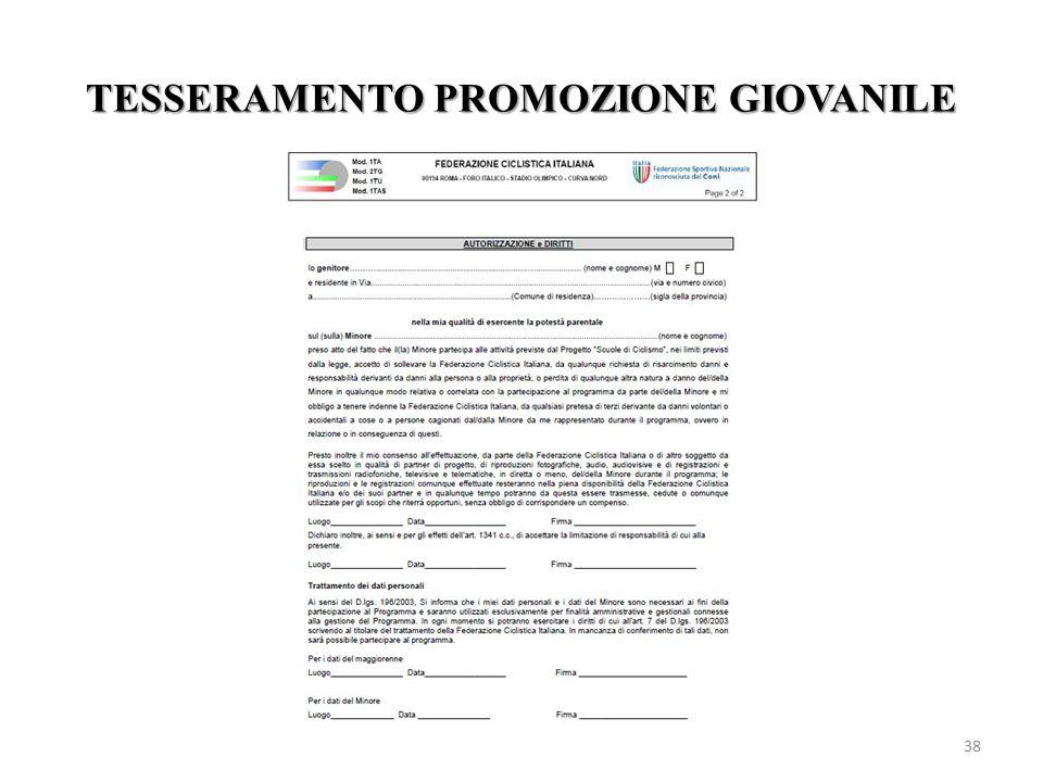 TESSERAMENTO PROMOZIONE GIOVANILE 38