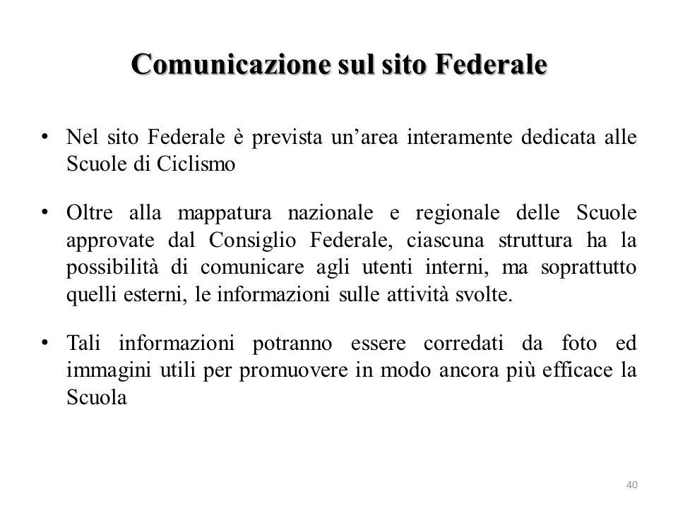 Comunicazione sul sito Federale 40 Nel sito Federale è prevista un'area interamente dedicata alle Scuole di Ciclismo Oltre alla mappatura nazionale e