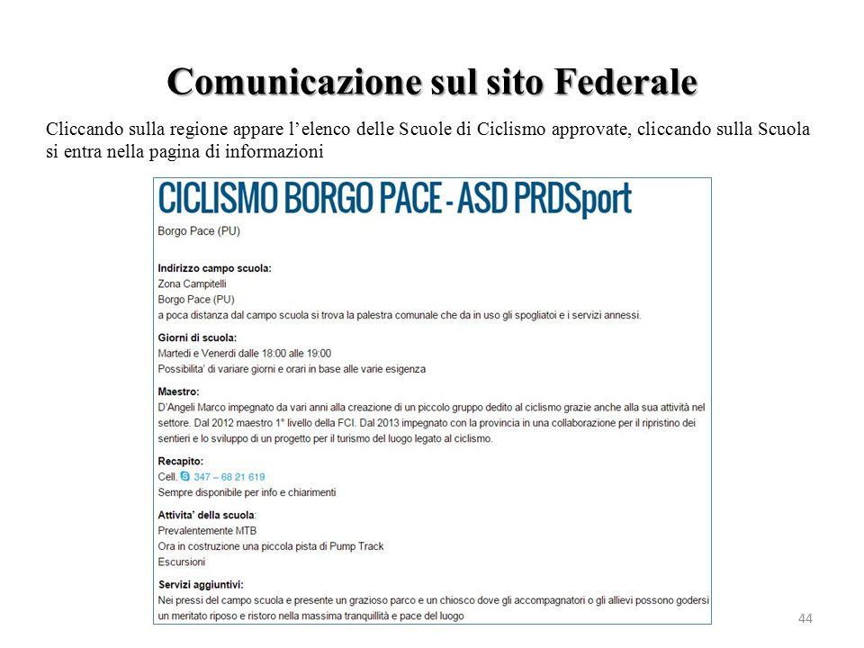 Comunicazione sul sito Federale 44 Cliccando sulla regione appare l'elenco delle Scuole di Ciclismo approvate, cliccando sulla Scuola si entra nella p