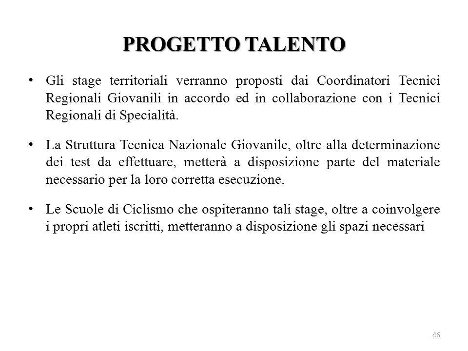 PROGETTO TALENTO 46 Gli stage territoriali verranno proposti dai Coordinatori Tecnici Regionali Giovanili in accordo ed in collaborazione con i Tecnic