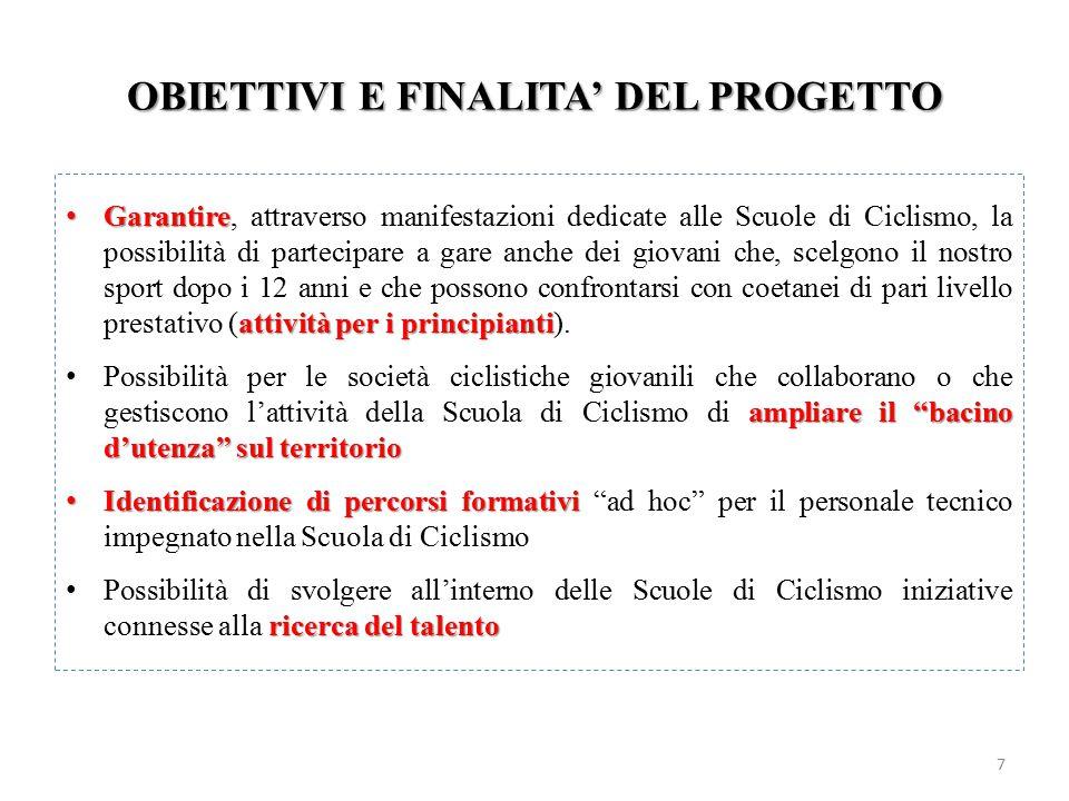 OBIETTIVI E FINALITA' DEL PROGETTO 7 Garantire attività per i principianti Garantire, attraverso manifestazioni dedicate alle Scuole di Ciclismo, la p